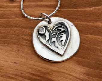 Pretty silver heart necklace, Michelle Giles Jewellery, heart pendant, Birthday gift, silver necklace, gift for her, gift for girlfriend