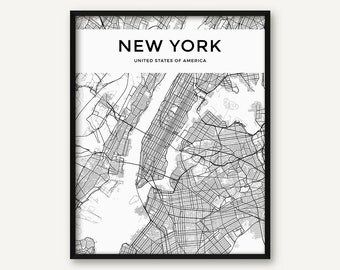 New York City Map Print, Map of New York, Black and White New York Decor, New York Wall Art, New York Map, Modern Print, Minimalist Print
