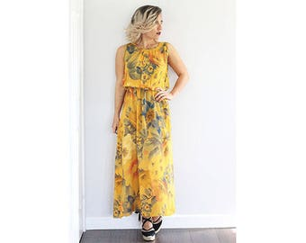 Vintage 1970s mustard floral printed maxi dress