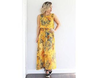 Vintage 1970s mustard floral printed maxi dress