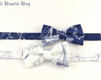 Navy OR White Nautical themed boy bow tie, toddler nautical vintage birthday bow tie, boats bow tie, sea compass, voyage and anchors bow tie