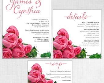 Custom Rose Design Contemporary Wedding Invitation Suite