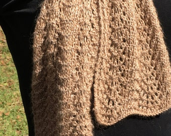 Hand knitted silk and cotton scarf
