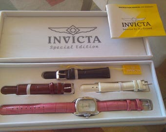 Invicta Special Edition watch set with 4 leather bands