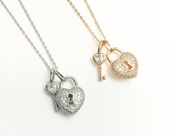 SALE Heart and key CZ necklace, Gold cz necklace,Silver cz necklace,Lock and key, Valentine gift,Key to my heart necklace