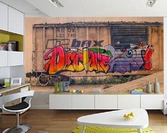 Train graffiti, Wallpaper graffiti, street mural, self-adhesive vinly, graffiti wallpaper, graffiti wall decal, graffiti, grafitti