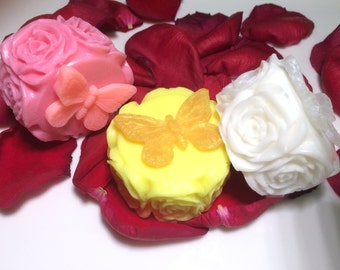 3 Roses Soap.Wedding Favor,Party Favor, Women Gift,3 Bars of Soap You Pick Colors & Scents
