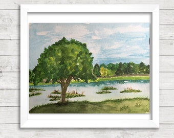Original Watercolor landscape Painting.  Lake landscape, tree painting, nature art, forest painting, Serenity art,  Blue and green painting
