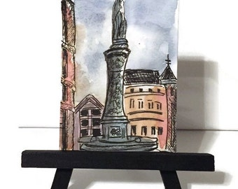Watercolor ACEO, original landscape, ATC, Desk Art, Architecture  painting, artist trading card, pen and ink, Europe, gift idea