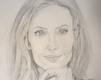 Pencil Drawing of Angelina Jolie, Wall Art