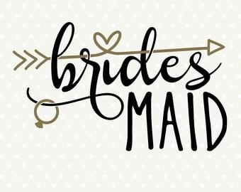 Bridesmaid SVG file, DIY Bridesmaid gift, DIY Bridal Party gift, Commercial cut file, svg cut file, Wedding dxf file