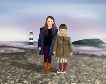 Family Portrait, Custom Sibling Portrait, Digital Painting of Two Members of Family, Art Commission, Personalised Portrait of Siblings