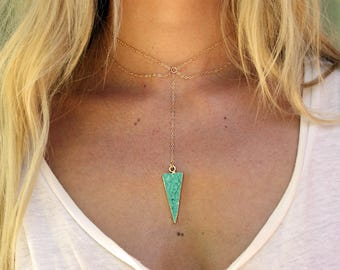 Wahi Necklace- Turquoise Spike Necklace, Choker