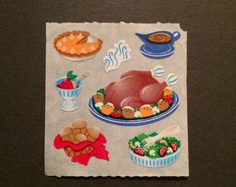Sandylion vintage rare kromekote/paper thanksgiving dinner stickers