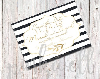 Black White Gold Painted Stripes Save the Date -DIGITAL FILE