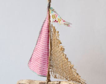 Driftwood boat - 'strawberry pink'