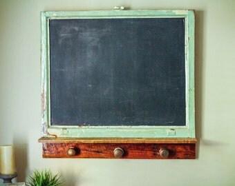 Chalkboard with Shelf, Rustic Chalkboard, Framed Chalkboard, Reclaimed Wood Chalkboard, Antique Door Knob Chalkboard Shelf