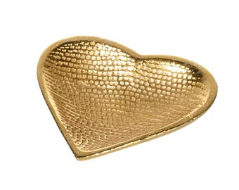 Gold hammered heart plate