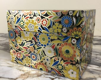 Mid Century Mod Sixties Floral Tin Boxes Pair