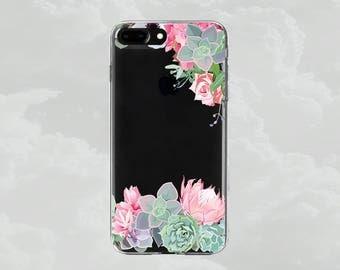 Succulent.Cactus.iPhone 7 case.iPhone 7 Plus case.iPhone X case.iPhone 8 case.iPhone 8 Plus case.iPhone6 case.iPhone 6Plus.Clear case.Floral