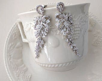 Cubic zirconia drop earrings - Raina