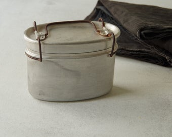 Aluminium Lunch box . French vintage. lunch box with interior compartment. oval lunch box. French country
