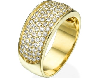 14K Gold band ring set with natural diamonds
