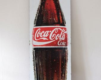 "Vintage Galvanised Litho Coca Cola Sign - Genuine - 35.5"" x 10"" (90cm x 25.7cm)"