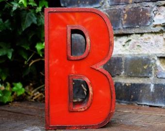 Vintage Red Metal & Plastic Letter B