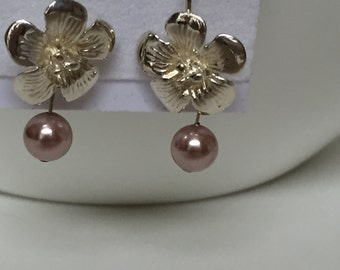 Sterling Silver tropical flower, Freshwater pearls..simple and elegant-Sale