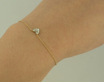 Reversible Heart Bijou Bracelet, Brass with Light Gold Coating, Glass
