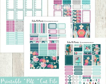 Aquamarine Printable Planner Stickers/Weekly Kit/Erin Condren/Cutfiles Summer Fourth of July Glam Goddess Glitter Fashion Diva Earth Floral