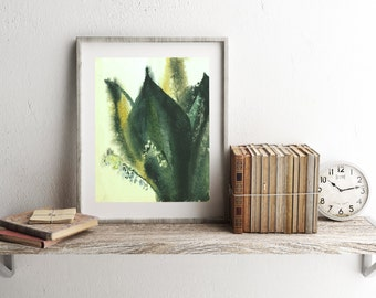 May-lily watercolor painting, Flower print, Botanical art, Apartment decor, Green leaves, Spring flower, INSTANT DOWNLOAD