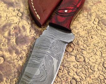 "On Sale~~~7.87"" Hand Forged Damascus Hunting Knife w Handmade Leather Sheath A192"