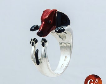 Silver ring 925 Silver ring-sculptured-dog-dog lover--dog lover-enamels-My pet Dachshund dog hug: Silver ring