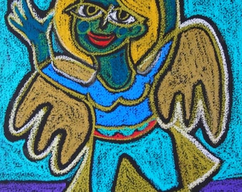 Ready to Fly Oil Pastel Original drawing