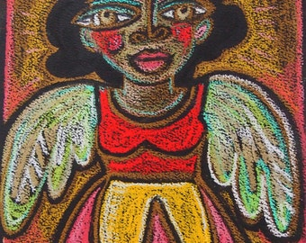 Winged Woman Original Pastel Drawing