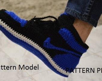 CROCHET Pattern -Nike Air Jordan 1 Crochet adult MEN ( US 7 / 8 / 9  / ) misure pattern