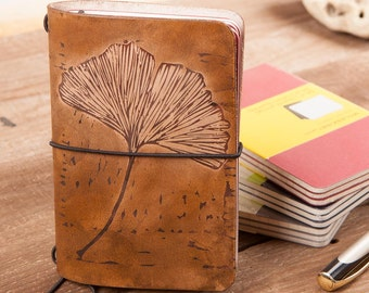 3rd Anniversary. Leather Journal Cover.Hand dye. Leather Diary.  Leather Book Cover. Includes a Moleskine pocket cahier, Midory Style.