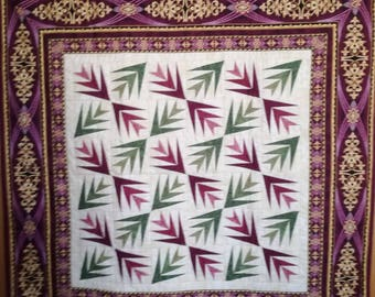 Purple and green palm leaves handmade quilt - wall hanging quilt - table topper quilt