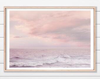 Pink Seascape Art Print, Sunset, Sunrise, Relaxing Decor Art, Ocean Art Print, Instant Download,