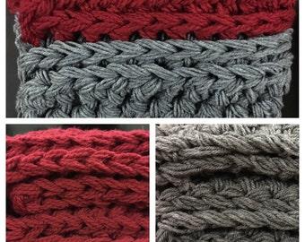 READY TO SHIP-Long chunky crochet scarf in Smoke and Crimson