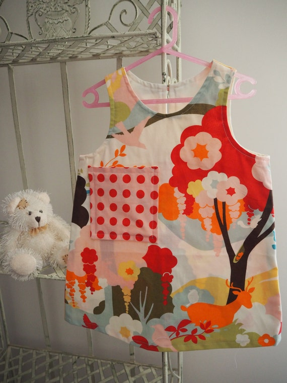 Bright Oh deer! printed dress with pocket. Size 3
