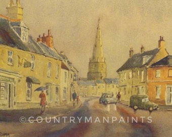 Olney Buckinghamshire watercolour print, ready to frame print, image 13 1/4 x 9 1/4 High Street Olney, Wet day in Olney, The Red Umbrella.