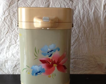 Thermos. Air thermo floral print. Glass water pump thermos in box. For cold and hot water