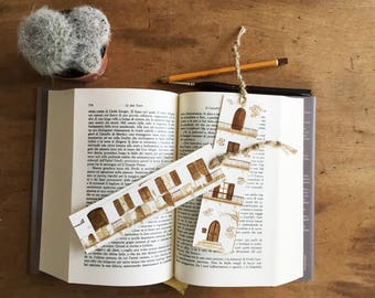 Bookmarks with rustic house hand painted with coffee - ORIGINAL - watercolor - bookmark art - original bookmark - paper bookmark