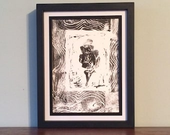 Black Leaf with Thick Border- Original Relief Print