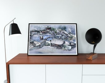 Japanese traditional Architecture painting print