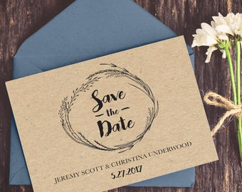 Kraft Save the Date, Save the Date, Wedding, Rustic Save the Date, Country Rustic Wedding, Line Art, DIY Wedding, Save the Date Printable