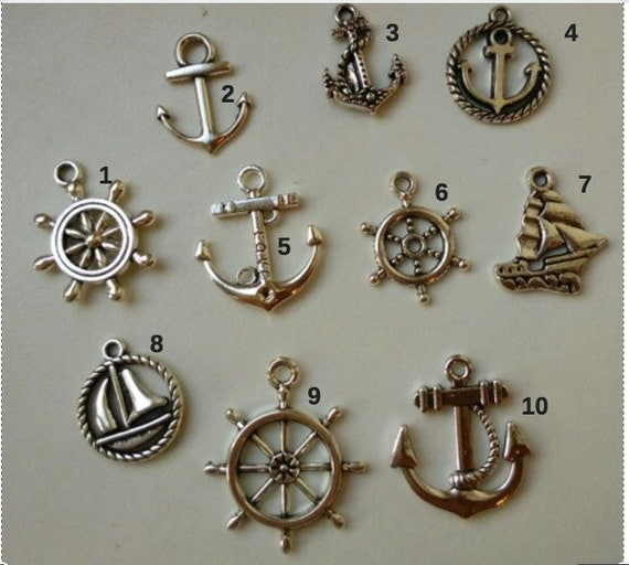 10 PCS Mixed Tibetan Antique Silver Tone Ship Anchor Rudder Charm Pendants for Bracelet Necklace Jewelry Accessories Diy Jewelry Making